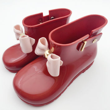 Mini Melissa Children Bow Boots Girls Jelly Water Boots Princess Shoes Anti-Skid Melissa Soft Boots Girls Sandals 4Color Shoes