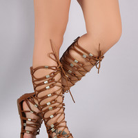 Strappy Lace Up Hardware Gladiator Sandal