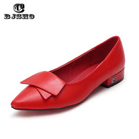 CBJSHO 2017 Ladies Loafers Flats Women Square Heel Shoes Pointed Toe Oxford For Women Spring Brand Bow Platform Designer Shoes