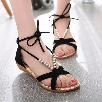 Stylish Bead String Ankle Sandals