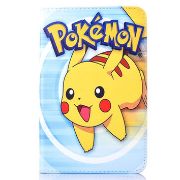 Case for Samsung Galaxy Tab 3 Lite 7.0 T110 Pokemon Go cute Pikachu tablet PU leather Cover Flip stand shell coque para capa