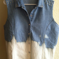 Vintage Indie Studded Bleach Dipped Jean Jacket Vest