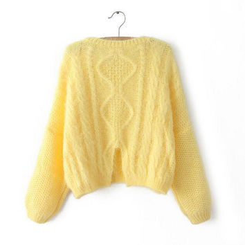 Yellow Knitted Pullover Sweater