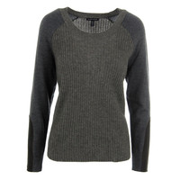 Eileen Fisher Womens Ribbed Knit Leather Trimmed Pullover Sweater