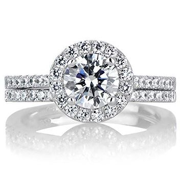 1CT Round Cut Halo Russian Lab Diamond Bridal Set