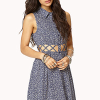 Caged Waisted Floral Dress