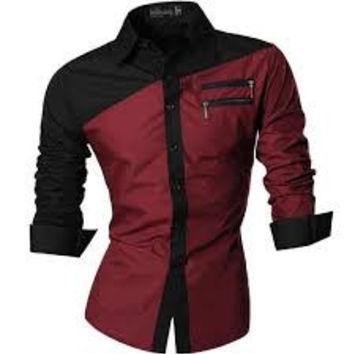 Designers Mens Simple Style Dress Casual Shirt Slim Fit Trend Fashion medium wine red