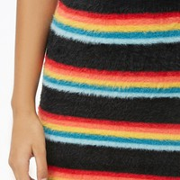 Rainbow Striped Faux Fur Skirt