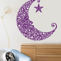 Vinyl Wall Decal Moon Face Star Art Decor Children's Room Stickers Unique Gift (1271ig)