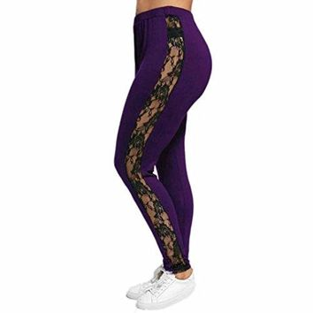 Tootu Women Plus Size Elastic Leggings Solid Criss-Cross Hollow Out Sport Pants (XXXL, B6)