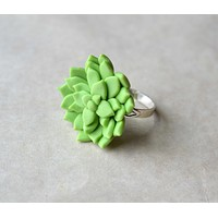 Succulent Ring, Polymer Clay Jewelry