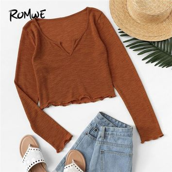 ROMWE Rust V Cut Neck Lettuce Trim Solid Tee Shirt Women Casual Spring Autumn Clothes Tops Long Sleeve Crop Slim Fit T Shirt