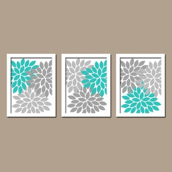 Turquoise Gray Custom Colors Flower Burst Dahlia Petals Artwork Set of 3 Trio Prints Decor Abstract Bedroom WALL ART Bathroom