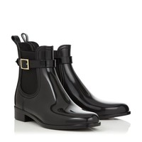 Black PVC Rain Boots | Designer Ankle Boots | JIMMY CHOO Shoes