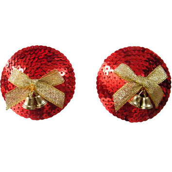 Red with Gold Bell Bow Tie Sequined Pasties