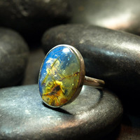 Dominican Blue Crystal Clear Amber Oval Ring Sterling Silver 925 authentic large antique rustic boho purple Caribbean fossil 4g 20ct Size 9