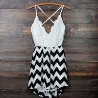 crochet open back black and white chevron romper