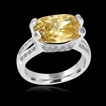 8 CT.(14x10mm) Radiant Cushion Intense Canary Simulated Diamond - Diamond Veneer Set Sterling Silver Rhodium Electro-Plate Ring 635R71487Cr