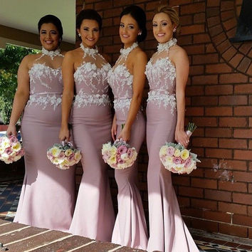 Dusty Rose Pink Mermaid Bridesmaid Dresses Halter with Flowers Satin Long Plus Size Wedding Maid of Honor Dresses Custom Made