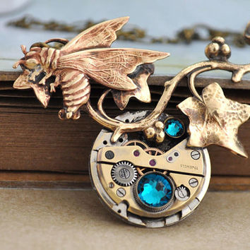 steampunk jewelry necklace STEAMPUNK BEE vintage 17 jeweled watch movement necklace in antique brass