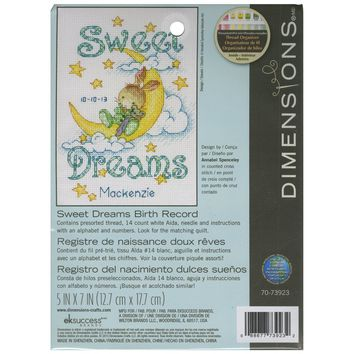 "Sweet Dreams Birth Record (14 Count) Dimensions Counted Cross Stitch Kit 5""X7"""
