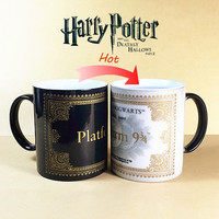 Harry Potter Mug Color Changing Cup,Mischief Managed /Platform 9 and 3/4  Magic Coffee Cup,Sensitive Ceramic tea Mug cup