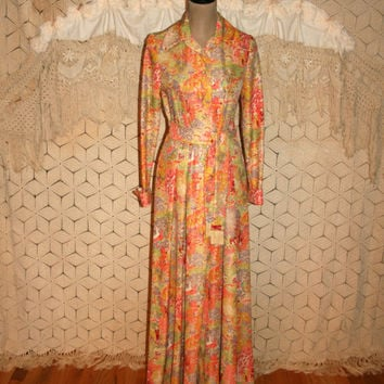 60s 1960s Floor Length Gown 70s 1970s Maxi Dress Long Dress Small Chinoiserie Orange Green Leslie Fay Vintage Clothing Womens Clothing