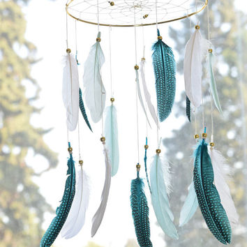 Hanging Baby  Dream Catcher Feather Mobile, Woodland Nursery Mobile,  Baby Boy Nursery Mobile, Teal Mint Nursery Decor,Feather Decor
