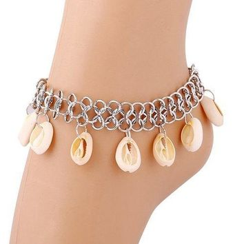 Shell Fringe Beach Anklets - Silver