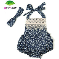 Baby Girl Romper Summer Sunsuit With Headband
