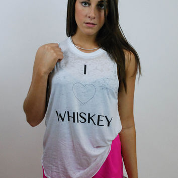 CHASER I Heart Whiskey Tank - White