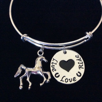 Live Love Ride Expandable Charm Bracelet Handmade in USA Animal Wire Bangle Gift Trendy Stacking