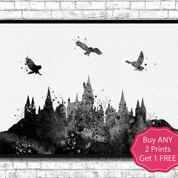 Hogwarts Castle 2 Harry Potter Black Watercolor Art Print Archival Fine Art Print Home Decor Children's Wall Art Wall Hanging Birthday Gift