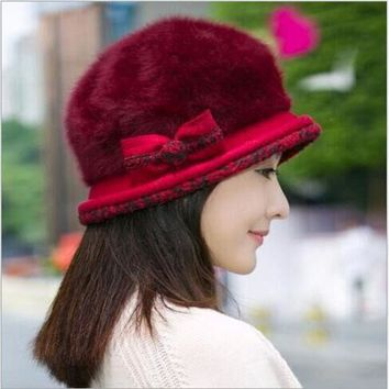 Ear Flower Beret Hat Warm Spring Autumn Women Rabbit Fur Winter Hat For Women Girls Point Hats Caps Hat Women Skullies