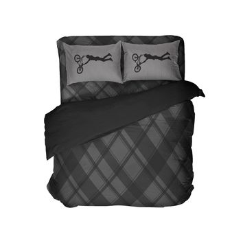 Black and Grey Plaid Comforter with BMX Pillowcases