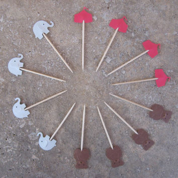 12 Party Picks Cupcake Toppers Red Circus Tent, Brown Bear, Gray Elephant Picks, Circus Party