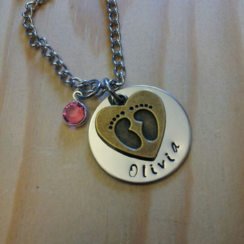 Hand Stamped Necklace - Personalized Jewelry Mom Necklace New Baby Necklace with Name