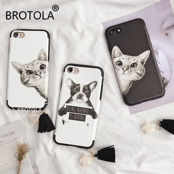 BROTOLA Cartoon Pet Dog Cat Phone Cases Lovely Animal Soft Silk Print For iPhone 7 Tassels Back Cover For iphone 6 6S 7 Plus
