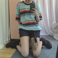 T shirt Femmes 2017 Summer Newest Blusas Korea Ulzzang Harajuku Rainbow Striped O-neck T-shirts For Women Casual Loose Tee Tops