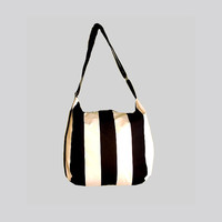 Stripes canvas tote bag, black and whites shoulder bag with adjustable strap