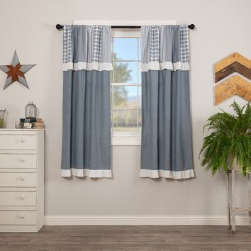 Sawyer Mill Blue Patchwork Short Panel Curtains