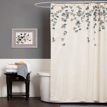 Lush Decor Flower Drop Shower Curtain