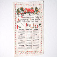 1970 Tea Towel Calendar Country Kitchen Bless This House
