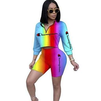 Champion Fashion New Letter Print Gradient Multicolor Sports Leisure Long Sleeve Top And Shorts Two Piece Suit