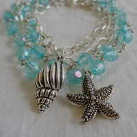 Sea Nymph Aqua Stacking Bracelet Upcycled Rosary Silver Plate Chain Choice of Charm: Seahorse Starfish or Shell, Ocean Goddess Mermaid Water
