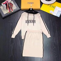 FENDI 2018 autumn and winter new classic drawstring hooded shirt women's wild fashion two-piece suit