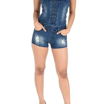 Women's Lace Up Denim Romper AJR878 - FF11B