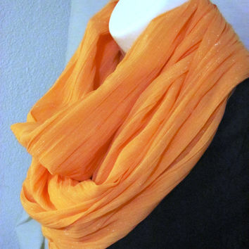 Peach Glimmer Infinity Scarf by GBSCreations on Etsy