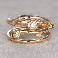 2pcs champagne Diamond wedding ring set,Hand Crafted Vine,Emerald ring,14K Yellow gold band,Anniversary Ring,Art deco,stacking,Matching band