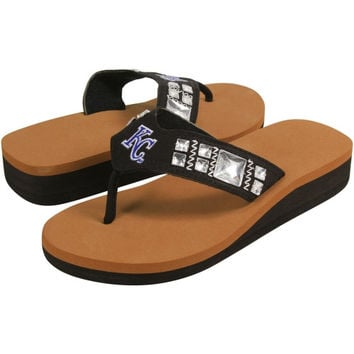 Kansas City Royals Ladies Jewel Wedge Flip Flops - Black/Brown